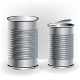 Aluminum food cans. Two sizes aluminum food cans Royalty Free Stock Photography