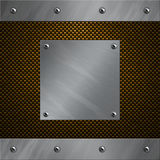 Aluminum frame bolted to a carbon fiber. Brushed aluminum frame and plate bolted to a carbon fiber background Royalty Free Stock Image