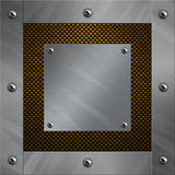 Aluminum frame bolted to a carbon fiber. Brushed aluminum frame and plate bolted to a carbon fiber background Stock Image