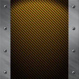 Aluminum frame bolted to a golden carbon fiber Royalty Free Stock Photo