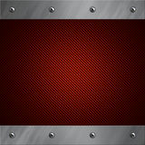 Aluminum frame bolted to a red carbon fiber Royalty Free Stock Images