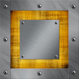 Aluminum frame and old parchment Stock Image