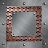 Aluminum frame and perforated metal with lava Royalty Free Stock Photography