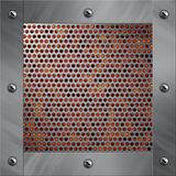 Aluminum frame and perforated metal with lava Stock Photography