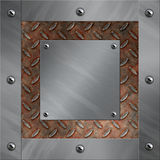 Aluminum frame and rusted diamond metal Stock Images