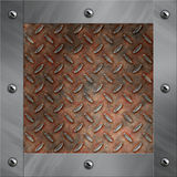 Aluminum frame and rusted diamond metal Royalty Free Stock Images