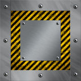 Aluminum frame and warning stripes Royalty Free Stock Images
