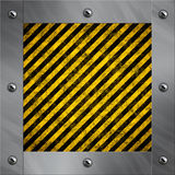Aluminum frame and warning stripes Stock Photography