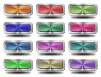 Aluminum glossy icon, button,. Crazy colors Stock Images