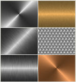 Aluminum, gold, bronze, steel material set. Shiny and reflective metal texture set Royalty Free Stock Images