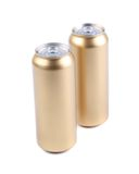 Aluminum golden cans isolated on a white Stock Photos