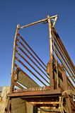 Metal cattle chute. A cattle chute allowing livestock to be transporting into a trailer Stock Image