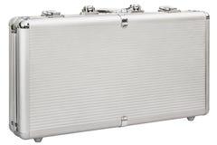 Aluminum Hard Suitcase Isolated On White Background Stock Photo