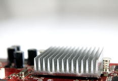 Aluminum heat sink on motherboard. Stock Photos