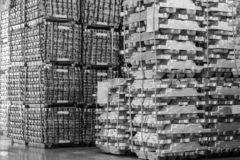 Free Aluminum Ingot Bar Stacked In Warehouse. Raw Material For Industrial Concept. General Cargo Warehouse Concept Royalty Free Stock Images - 191288539