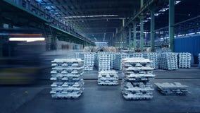 Aluminum ingots. China Jiangsu metal processing plant workshop, a library of aluminum ingots stock photos