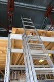 Aluminum ladder indoors Stock Photo