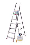Aluminum ladder and paint tools Stock Image