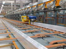 Aluminum lines on a conveyor belt Stock Photo