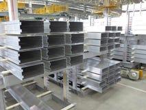 Aluminum lines stock rack Stock Image