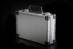 Aluminum metal case box. On black background Royalty Free Stock Photography