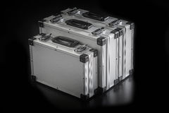 Aluminum metal case boxes Royalty Free Stock Photos