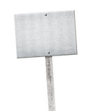 Aluminum metal plate nailed on wooden gray pole or. Banner Stock Image
