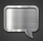 Aluminum metal speech bubble frame over grid Royalty Free Stock Photography