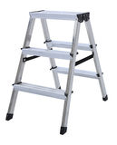 Aluminum metal step-ladder isolated. White background Stock Photos