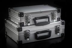 Aluminum metallfallaskar Fotografering för Bildbyråer