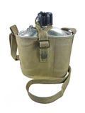 Aluminum military flask. Stock Photos