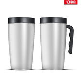 Aluminum mug set. Classic Stainless steel mug set with handle. For travel and morning coffee. Vector Illustration Isolated on Background Stock Image