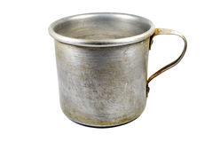 Aluminum old mug isolated Royalty Free Stock Image