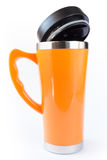 Aluminum orange mug Stock Photography