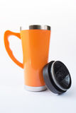 Aluminum orange mug Royalty Free Stock Photo