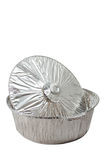 Aluminum Pie Pan. Isolated on white background Royalty Free Stock Photo
