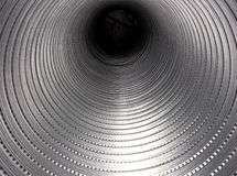 Aluminum pipe. For industrial use seen from the inside stock image
