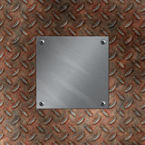 Aluminum plate and rusted diamond metal Stock Photos
