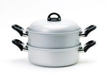 Aluminium cooking pot isolated on white  Stock Photography