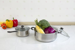 Aluminum pots a useful kitchenware Royalty Free Stock Image