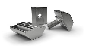 Aluminum profile accessories (t-nuts, t-bolts) Stock Photos