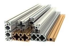 Aluminum profiles and copper profiles Stock Image