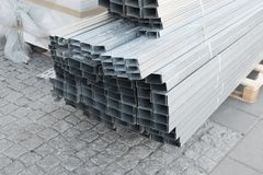 Aluminum profiles on the pallet Royalty Free Stock Image