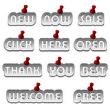 Aluminum promotional stickers attached Stock Images
