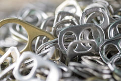 Aluminum pull tabs Royalty Free Stock Images