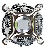 Aluminum radiator fan with the CPU Royalty Free Stock Photo