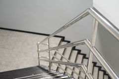 Aluminum railing. The Aluminum railing handle of staircase Stock Photo
