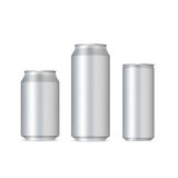Aluminum realistic cans Stock Photos