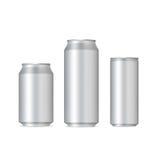 Aluminum realistiska cans royaltyfri illustrationer