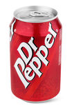 Aluminum red can of Dr Pepper Stock Images